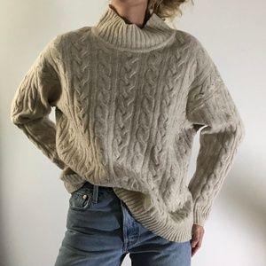 VINTAGE/ boxy oversized mock neck knit